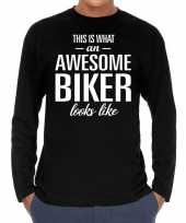 Awesome biker motorrijder cadeau shirt zwart voor heren kopen