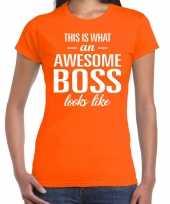 Awesome boss fun t-shirt oranje voor dames kopen