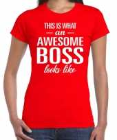 Awesome boss fun t-shirt rood voor dames kopen