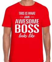 Awesome boss fun t-shirt rood voor heren kopen