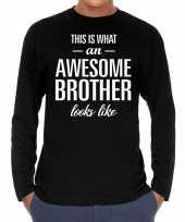 Awesome brother broer cadeau shirt zwart voor heren kopen