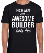 Awesome builder bouwvakker cadeau t shirt zwart voor heren kopen