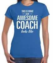 Awesome coach cadeau t-shirt blauw voor dames coach bedankt cadeau kopen
