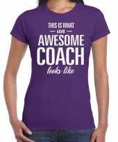 Awesome coach cadeau t-shirt paars voor dames coach bedankt cadeau kopen