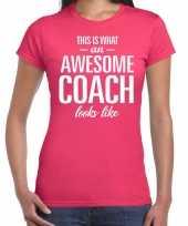 Awesome coach cadeau t-shirt roze voor dames coach bedankt cadeau kopen