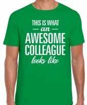 Awesome colleague fun t-shirt groen voor heren kopen