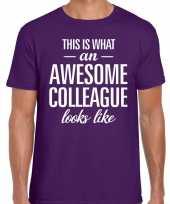 Awesome colleague fun t-shirt paars voor heren kopen