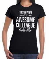 Awesome colleague fun t-shirt zwart voor dames kopen