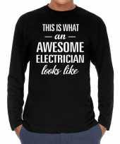 Awesome electrician elektricien cadeau shirt zwart voor heren kopen