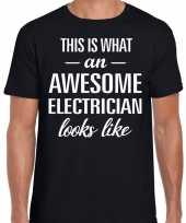Awesome electrician elektriciens cadeau t shirt zwart voor heren kopen