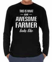 Awesome farmer boeren cadeau shirt zwart voor heren kopen