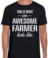 Awesome farmer boeren cadeau t shirt zwart voor heren kopen