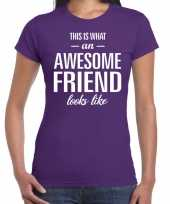 Awesome friend kado t-shirt paars voor dames kopen