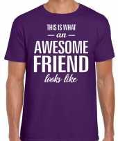 Awesome friend kado t-shirt paars voor heren kopen