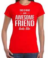 Awesome friend kado t-shirt rood voor dames kopen
