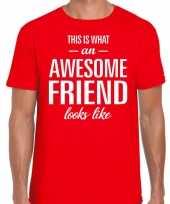 Awesome friend kado t-shirt rood voor heren kopen