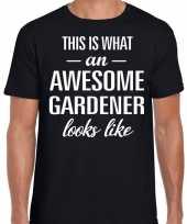 Awesome gardener tuinman cadeau t shirt zwart voor heren kopen