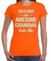 Awesome grandma cadeau t-shirt oranje voor dames kopen