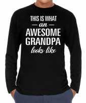 Awesome grandpa opa cadeau shirt zwart voor heren kopen