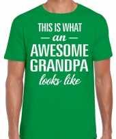 Awesome grandpa opa cadeau t-shirt groen voor heren kopen