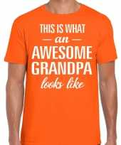Awesome grandpa opa cadeau t-shirt oranje voor heren kopen