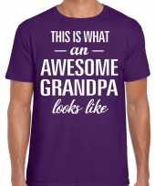 Awesome grandpa opa cadeau t-shirt paars voor heren kopen