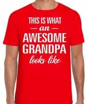 Awesome grandpa opa cadeau t-shirt rood voor heren kopen