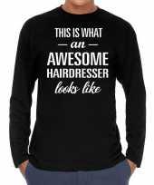 Awesome hairdresser kapper cadeau shirt zwart voor heren kopen