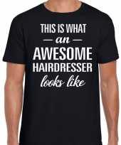 Awesome hairdresser kappers cadeau t shirt zwart voor heren kopen