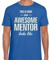 Awesome mentor fun t-shirt blauw voor heren bedankt cadeau voor een mentor kopen