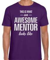 Awesome mentor fun t-shirt paars voor heren bedankt cadeau voor een mentor kopen