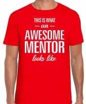 Awesome mentor fun t-shirt rood voor heren bedankt cadeau voor een mentor kopen