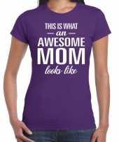 Awesome mom t-shirt paars voor dames cadeau moeder kopen