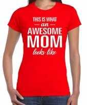 Awesome mom t-shirt rood voor dames cadeau moeder kopen