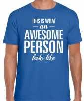 Awesome person fun t-shirt blauw voor heren kopen