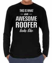 Awesome roofer dakdekker cadeau shirt zwart voor heren kopen