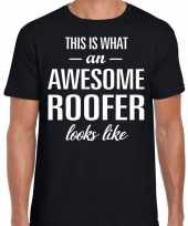 Awesome roofer dakdekkers cadeau t shirt zwart voor heren kopen