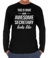 Awesome secretary secretaris cadeau shirt zwart voor heren kopen