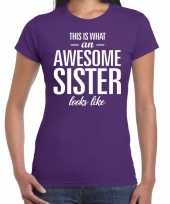 Awesome sister fun t-shirt paars voor dames kopen