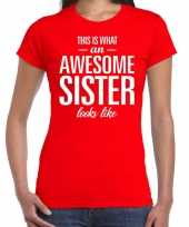 Awesome sister fun t-shirt rood voor dames kopen