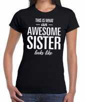 Awesome sister fun t-shirt zwart voor dames kopen