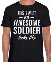 Awesome soldier militair cadeau t shirt zwart voor heren kopen