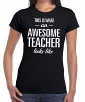 Awesome teacher fun t-shirt zwart voor dames kopen