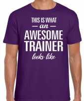 Awesome trainer fun t-shirt paars voor heren bedankt cadeau voor een trainer kopen