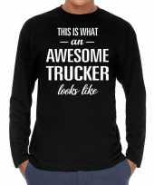 Awesome trucker vrachtwagenchauffeur cadeau shirt zwart voor heren kopen