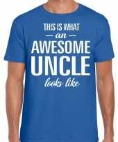 Awesome uncle oom cadeau t-shirt blauw voor heren kopen