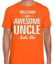 Awesome uncle oom cadeau t-shirt oranje voor heren kopen