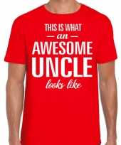 Awesome uncle oom cadeau t-shirt rood voor heren kopen