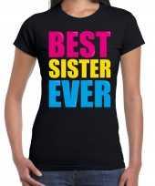 Best sister ever beste zus ooit fun verjaardag t-shirt zwart voor dames kopen
