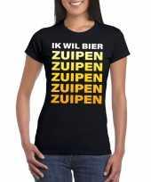 Bier zuipen fun t-shirt zwart voor dames kopen